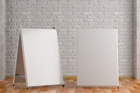 3d illustration render of a white information sign on a white brick interior background. Front view.