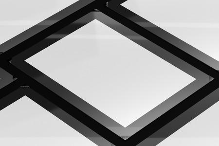 3d illustration render of a poster,photo or artwork frame on a black background. Perspective view.