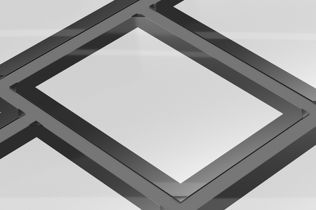 3d illustration render of a poster,photo or artwork frame on a grey background. Perspective view.