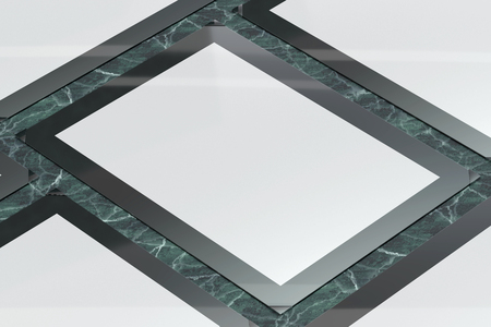 3d illustration render of a poster,photo or artwork frame on a marble background. Perspective view.