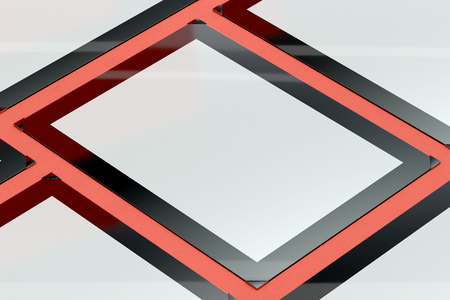 3d illustration render of a poster,photo or artwork frame on a colored background. Perspective view.