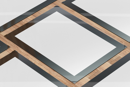 3d illustration render of a poster,photo or artwork frame on a wooden background. Perspective view. Stock Photo