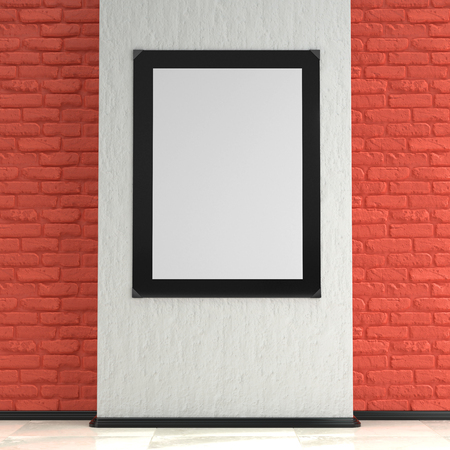 3d illustration render of a poster,photo or artwork frame on a interior wall background. Front view.