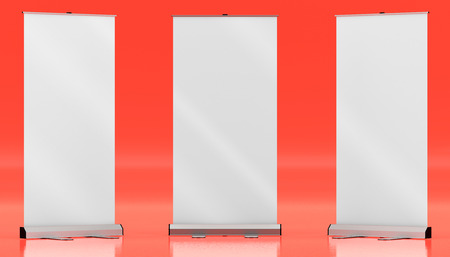 3d illustration render of a rollup mockup on a colorful background. Front view.