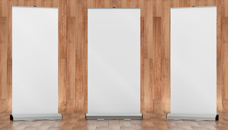 3d illustration render of a rollup mockup on a wooden background. Front view.