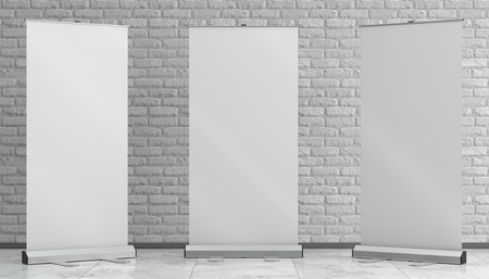 3d illustration render of a rollup mockup on a white brick background. Front interior space view.