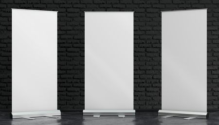 3d illustration render of a rollup mockup on a black brick background. Front interior space view.