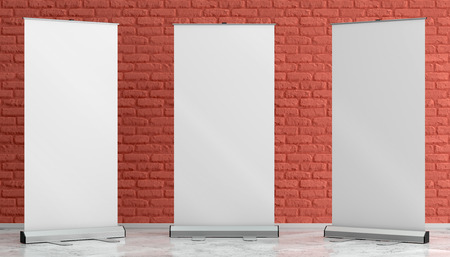 3d illustration render of a rollup mockup on a painted brick background. Front interior space view.