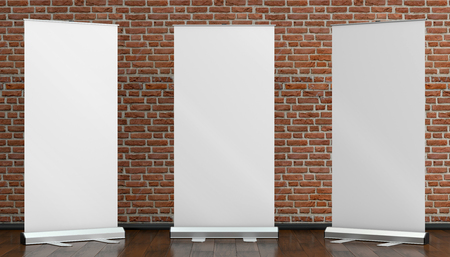 3d illustration render of a rollup mockup on a brick background. Front interior space view.