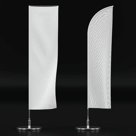 3d illustration render of an advertising flag mockup on a black background. Front view. Stock Photo