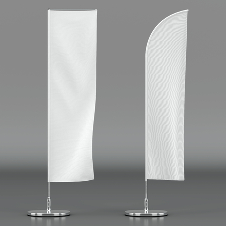 3d illustration render of an advertising flag mockup on a grey background. Front view.