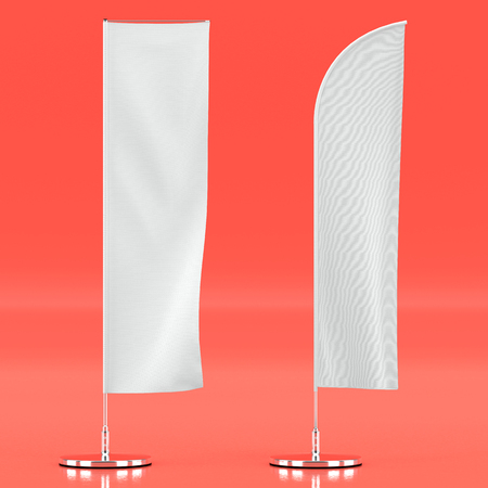 3d illustration render of an advertising flag mockup on a colored background. Front view.