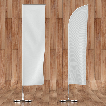 3d illustration render of an advertising flag mockup on a wooden background. Front view.