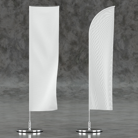 3d illustration render of an advertising flag mockup on a concrete background. Front view.
