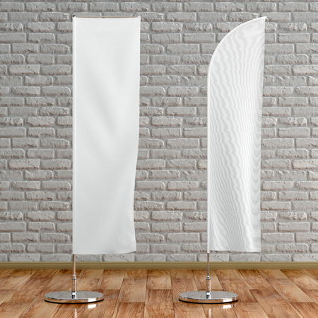 3d illustration render of an advertising flag mockup on a white brick background. Front interior space view. Stock Photo