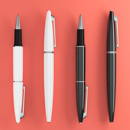 3d illustration render of white ball pens mockup on color background. Top view.