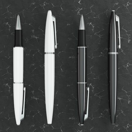 3d illustration render of white ball pens mockup on black marble background. Top view.