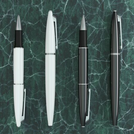 3d illustration render of white ball pens mockup on green marble background. Top view. Stock fotó