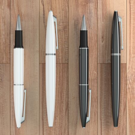 3d illustration render of white ball pens mockup on wooden background. Top view. Stock fotó