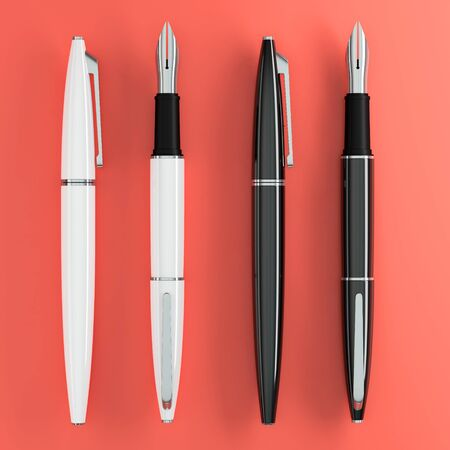 3d illustration render of white and black fountain pens mockup on color background. Top view.