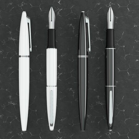 3d illustration render of white and black fountain pens mockup on black marble background. Top view.