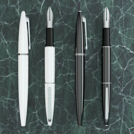 3d illustration render of white and black fountain pens mockup on green marble background. Top view.