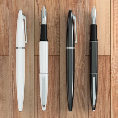 3d illustration render of white and black fountain pens mockup on wooden background. Top view.
