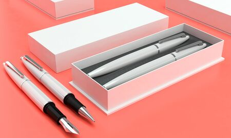 3d illustration render of a writing set. Ball pen and ink pen in a box on a color background. Perspective view. Stock fotó