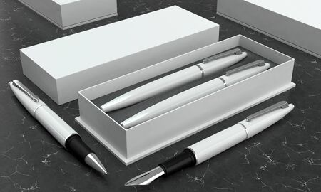 3d illustration render of a writing set. Ball pen and ink pen in a box on a  black marble background. Perspective view. Stock fotó