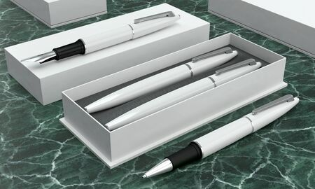 3d illustration render of a writing set. Ball pen and ink pen in a box on a green marble background. Perspective view. Stock fotó