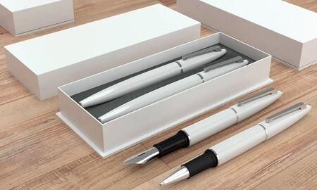 3d illustration render of a writing set. Ball pen and ink pen in a box on a wooden background. Perspective view. Stock fotó