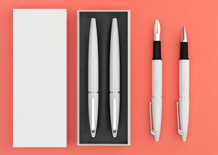 3d illustration render of a writing set. Ball pen and ink pen in a box on a color background. Top view.