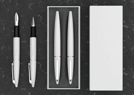 3d illustration render of a writing set. Ball pen and ink pen in a box on a black marble background. Top view.