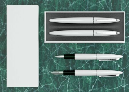 3d illustration render of a writing set. Ball pen and ink pen in a box on a green marble background. Top view. Stock fotó