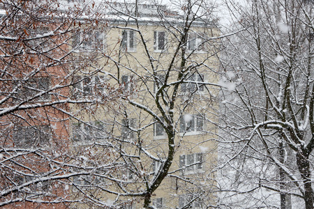 flurry: Urban city while snow flurry. Winter background. Stock Photo