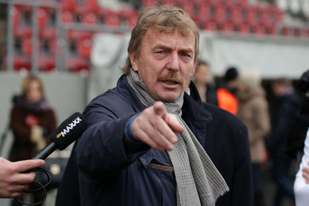 KRAKOW, POLAND - DECEMBER 01, 2016: Charity football game featuring players and politician at Cracovia Stadium op Zbigniew Boniek chairman of the Polish Football Association Editorial