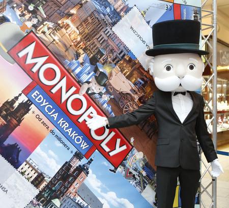 KRAKOW, POLAND - NOVEMBER 07, 2015: First run Monopoly Edition Cracow Krakow at shopping center Bonarka City Center op Mister Monopoly