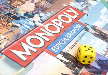 KRAKOW, POLAND - NOVEMBER 07, 2015: First run Monopoly Edition Cracow Krakow at shopping center Bonarka City Center Editorial