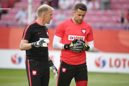 KRAKOW, POLAND - June 06, 2016: Inernational Friendly football game Poland - Lithuania op  Lukasz Fabianski Jaroslaw Tkocz