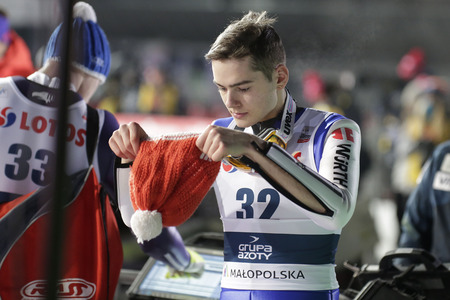 siegel: ZAKOPANE, POLAND - JANUARY 22, 2016: FIS Ski Jumping World Cup in Zakopane op David Siegel GER