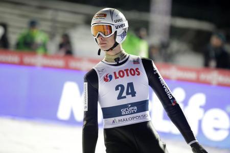 sui: ZAKOPANE, POLAND - JANUARY 22, 2016: FIS Ski Jumping World Cup in Zakopane op Luca Egloff SUI