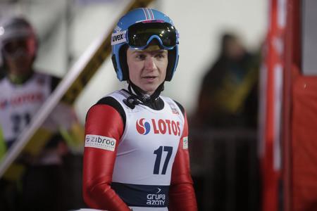 ZAKOPANE, POLAND - JANUARY 22, 2016: FIS Ski Jumping World Cup in Zakopane op Konstantin Sokolenko KAZ