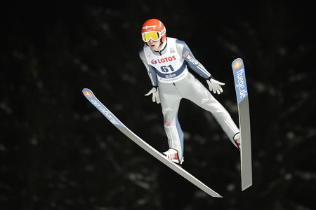 freitag: ZAKOPANE, POLAND - JANUARY 22, 2016: FIS Ski Jumping World Cup in Zakopane op Richard Freitag GER Editorial