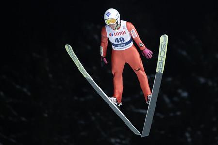 ZAKOPANE, POLAND - JANUARY 22, 2016: FIS Ski Jumping World Cup in Zakopane op Kamil Stoch POL
