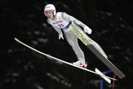 ZAKOPANE, POLAND - JANUARY 22, 2016: FIS Ski Jumping World Cup in Zakopane op Reruhi Shimizu JAP