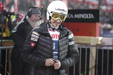 sui: ZAKOPANE, POLAND - JANUARY 23, 2016: FIS Ski Jumping World Cup in Zakopane op Simon Ammann SUI