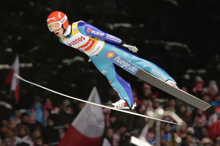 freitag: ZAKOPANE, POLAND - JANUARY 23, 2016: FIS Ski Jumping World Cup in Zakopane op Richard Freitag GER