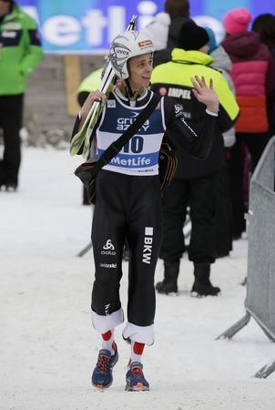sui: ZAKOPANE, POLAND - JANUARY 24, 2016: FIS Ski Jumping World Cup in Zakopane op  LUCA EGLOFF SUI