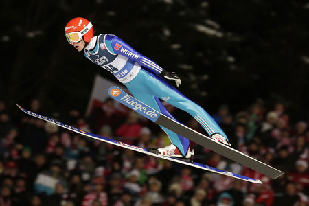 freitag: ZAKOPANE, POLAND - JANUARY 24, 2016: FIS Ski Jumping World Cup in Zakopane op RICHARD FREITAG GER Editorial