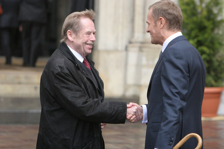KRAKOW, POLAND - JUNE 04, 2009: 20th Anniversary of the collapse of Communism in Central Europe op Polish Prime Minister Donald Tusk Vaclav Havel Editorial